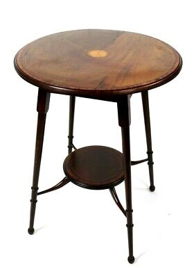 Antique Edwardian Inlaid Mahogany Occasional Table [5635]