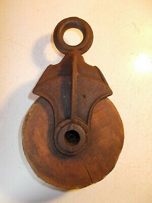 Antique Wood and Cast Iron Pulley Barn Rustic Decor 774