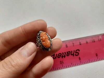 ANTIQUE sterling silver ring with a REAL carved red coral PORTRAIT - OOAK, RARE