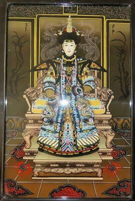 Antique Chinese Empress Ancestral Portrait Reverse Glass Painting