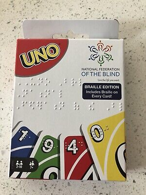 UNO Card Game - Braille Edition Braille On Every Card Target Exclusive NEW NIB