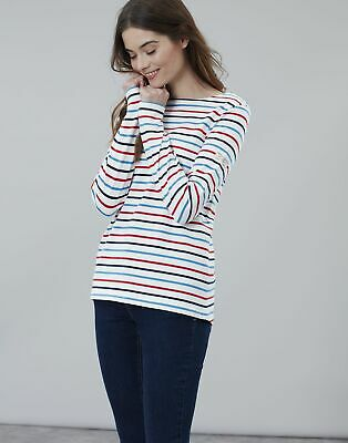 Joules Womens Harbour Long Sleeve Jersey Top Shirt in CREAM NAVY RED BLUE