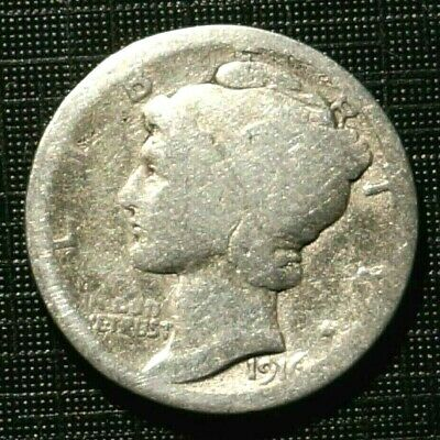 silver 1916 UNITED STATES  Mercury - 10 cents (124M)