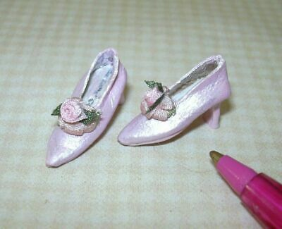 Miniature Doll/'s Cobbler PINK Brocade Flats Shoes DOLLHOUSE 1:12