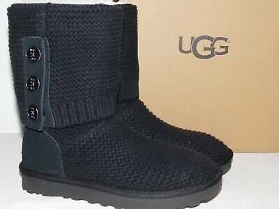 Womens 6 Black UGG 1094949 Purl Cardy Knit Button Sheepskin BOOTS