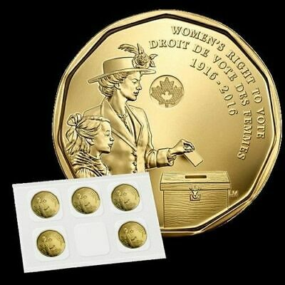 Canada 2016 Sealed 100th Anniversary women's right to vote LOONIE coin frm sheet