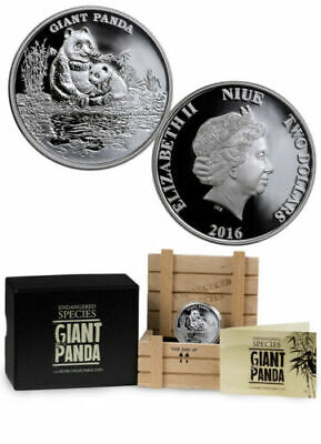 2016 Niue  1 oz Silver Proof Coin - Endangered Species Giant Panda Mintage 2000