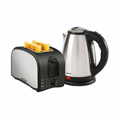 Daewoo Brushed Finish Stainless Steel Kettle & Toaster Twin Pack, 2 Slice Toa...