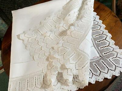 Antique Linen & Lace Tablecloth Drawn Work Hemstitched Border 40x41