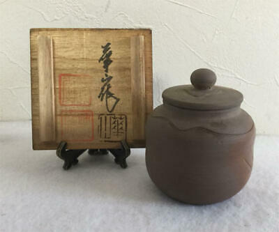 Tea Caddy Ceremony Chaire Bizen-Yaki Sado Japanese Traditional Crafts t516