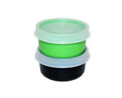 Tupperware Smidgets Set of 2 Little 1 oz. Mini Storage Containers Green Black
