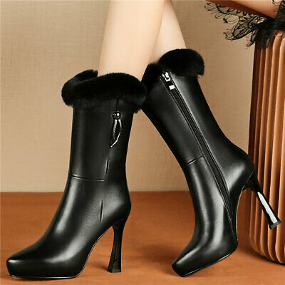 Women's Cow Leather High Heel Snow Boots Pointed Toe Winter Platform Pumps Shoes