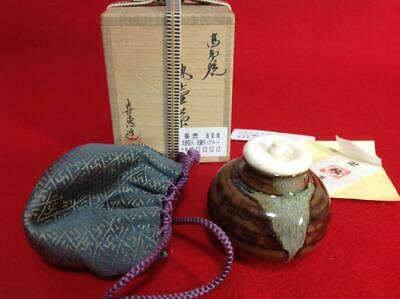 Tea Caddy Ceremony Chaire Takatori-Yaki Sado Japanese Traditional Crafts t534