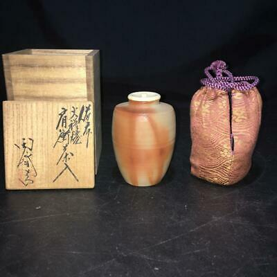 Tea Caddy Ceremony Chaire Bizen-Yaki Sado Japanese Traditional Crafts t554