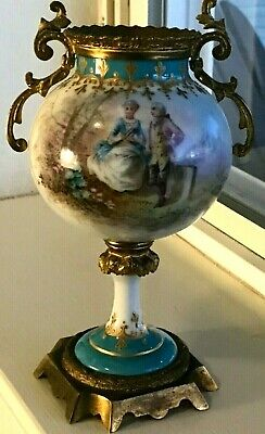 Antique Art Nouveau Hand Painted Ormolu Sevres Urn Made in France signed Luig 7""