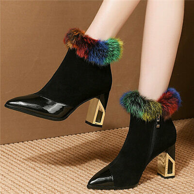 Women's Cow Leather Pointed Toe Ankle Boots Fox Fur Winter High Heel Pumps Shoes
