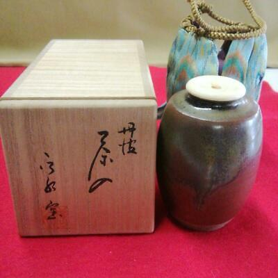 Tea Caddy Ceremony Chaire Tanba-Yaki Sado Japanese Traditional Crafts t568