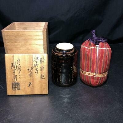 Tea Caddy Ceremony Chaire Zeze-Yaki Sado Japanese Traditional Crafts t578