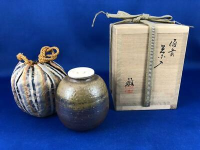 Tea Caddy Ceremony Chaire Bizen-Yaki Sado Japanese Traditional Crafts t583