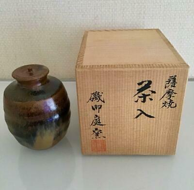 Tea Caddy Ceremony Chaire Satsuma-Yaki Sado Japanese Traditional Crafts t593