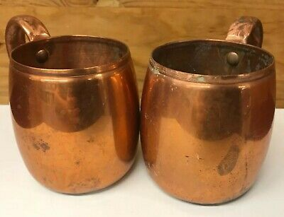 Vintage West Bend Aluminum Co Solid Copper Pair of Moscow Mule Style Mugs 3.75""