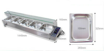 INTBUYING Food Warmer for Commercial Industry Schools 5 Pans Easy to Use 110V