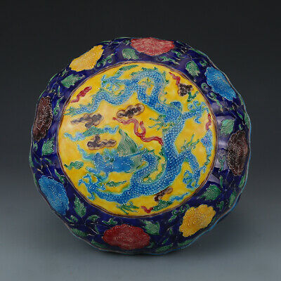 """Chinese Old Porcelain yongle Dynasty mark colour enamels dragon Boxe 9.8"""""""