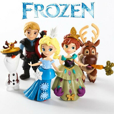 5pcs Q Version Frozen Elsa Anna Olaf Action Figure Doll Cake Decor PVC Figurine