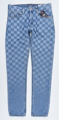 TOMMY HILFIGER Boys' STEVE Slim Tapered Checker Board Jeans, Blue, size 14 years