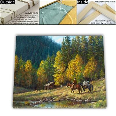 "16""x22"" Western Lodge Paintings HD Canvas prints Framed Home decor Room Wall art"