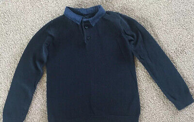 Next Boys Navy Blue Jumper Collar Smart 4 Years