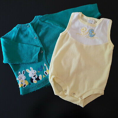 VINTAGE 1970's BABY BOYS' MARQUISE CARDIGAN and ROMPER