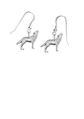 Pewter Wolf  on hook Earrings sterling silver 925 Codeppa26