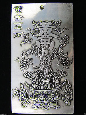 "Old Chinese""Ssangyong longevity /"" tibet Silver Bullion Pendant amulet Statue"