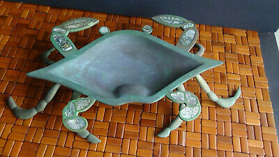 Beautiful Vintage Crab Lobster Copper Brass,with Abalone Inlay Bowl Cobre Mexico