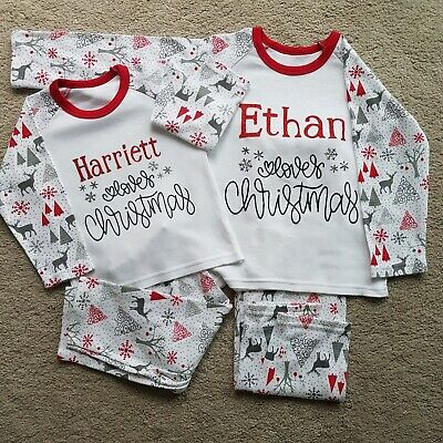 Personalised Christmas pjs PJs,Any name loves Christmas,1-2years