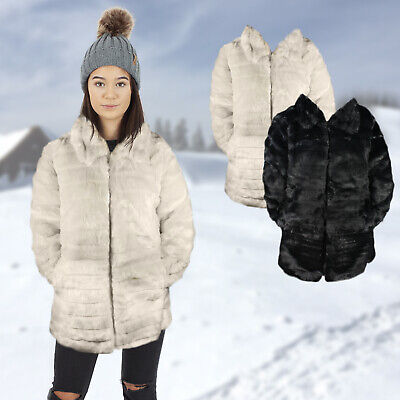 Womens Girls Super Soft Faux Fur Winter Jacket Coat
