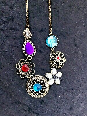 Beautiful Antique Bronze Blue's Red Purple Floral Design Pendant - Necklace