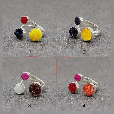 Druzy Gemstone Adjustable Ring Gold Plated  Ring Jewelry (N-4656)
