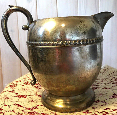 Sheridan Silver on Copper-Large 8-cup Water/Wine Pitcher w/Ice Lip-Taunton,MA