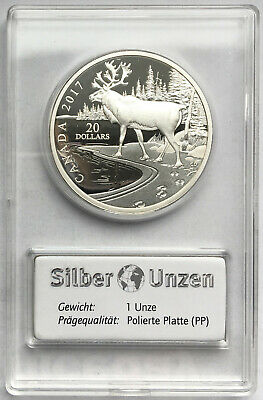 Canada 2017 20 Dollars Argent (1 Once) Proof Pp Woodland Caribou (Canada