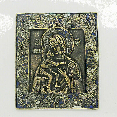 ANTIQUE RUSSIAN BRONZE ENAMEL ICON of the Mother of God Feodorovskaja