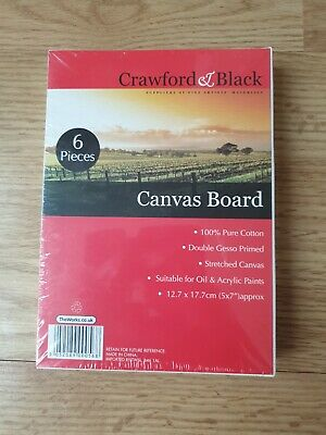 Crawford & Black Canvas Boards 5 x 7 inches - Pack Of 6. Free Postage