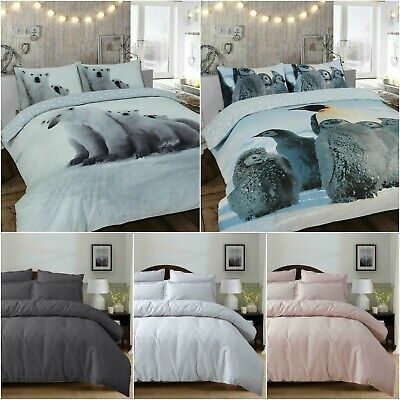 Flannelette Thermal 100% Brushed Cotton Duvet Cover Bedding Set With Pillowcases