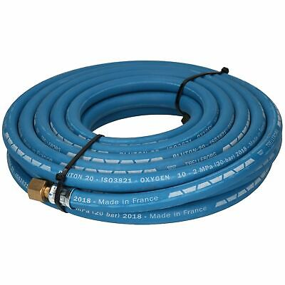 "Single Oxygen Fitted Rubber Hose Pipe Cutting & Welding 10M 3/8"" BSP Gas Blue"