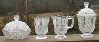 "EAPG CLEAR ""FEATHER"" (4)PC. TABLE set,BUTTER,SUGAR,CREAMER, & SPOONER"
