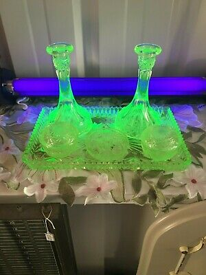 Art Deco Uranium Glass Dressing Table Set Candle Holders Tray Trinket Dish/ Pots