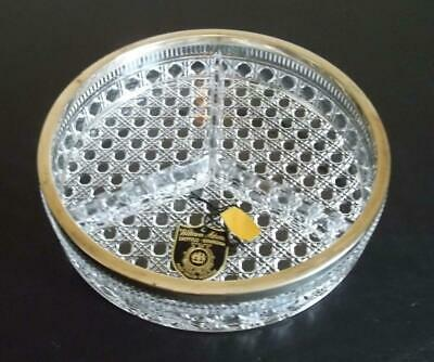 Lead Crystal Divided Relish Dish Silverplate Top William Adams Sheffield England