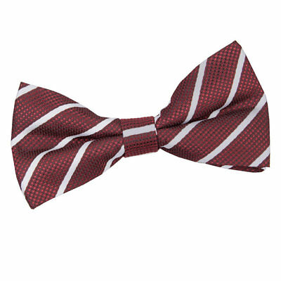 Burgundy Silver Mens Bow Tie Woven Single Stripe Formal Classic Pretied by DQT