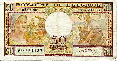 Belgian 50 Francs 1956 Note